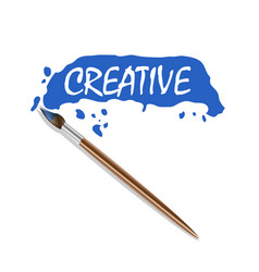 logo brush and blue paint vector image