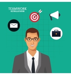 Man with glasses suit business green background vector