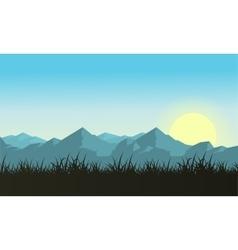 Mountain with sun landscape vector