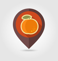 peach flat pin map icon fruit vector image vector image