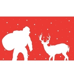 Santa with gift bag of silhouettes vector