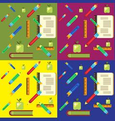 set of school pattern vector image