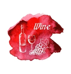 Sketch of wine on watercolor stain vector