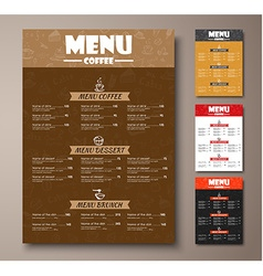 Templates of different colors coffee menu with vector