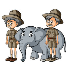 Two parkranger with baby elephant vector