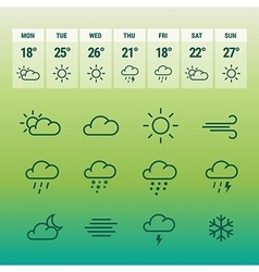 Weather forcast line icons on green vector image