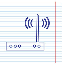 Wifi modem sign navy line icon on vector