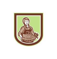 Woman organic farmer farm produce harvest retro vector