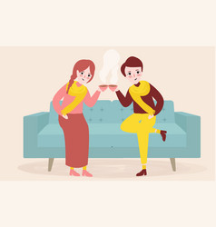 young couple having a cup of tea or coffee in vector image vector image