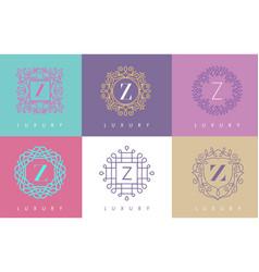 z letter pastel floral monogram lines logo design vector image
