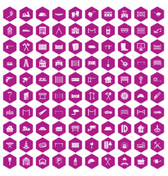 100 fence icons hexagon violet vector