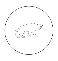 Saber-toothed tiger icon in outline style isolated vector