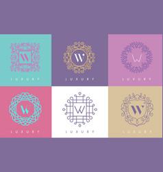 W letter pastel floral monogram lines logo design vector