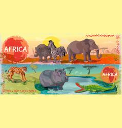 cartoon wild africa horizontal banners vector image