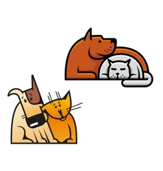Friendship of dog and cat vector