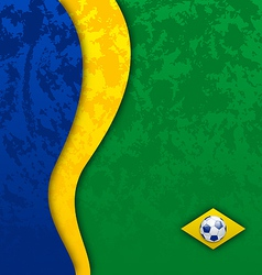 Grunge football background in Brazil flag colors vector image