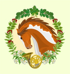 Piebald horse head of stallion leaves vector