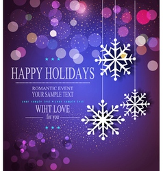 Christmas holiday background with snowflakes vector image