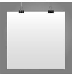 Blank square white page binder clip vector