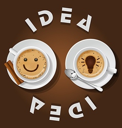 Cappuccino cup with words idea vector