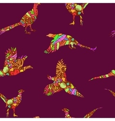 Seamless pattern of bird pheasant vector image