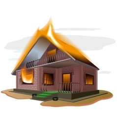 Brick house burns cottage fire vacation home vector
