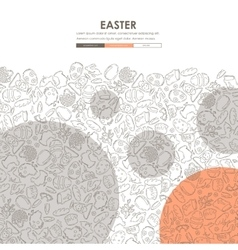 Easter doodle website template design vector