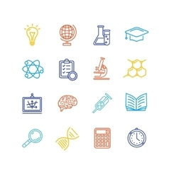 Science outline colorful icons set vector