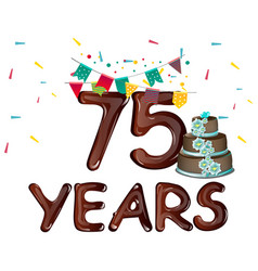 75 anniversary with flags and cake vector image vector image