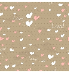Vintage seamless texture with hearts vector