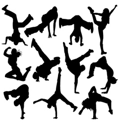 Silhouette break dance vector
