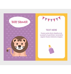 Baby shower invitation card template with cute vector image