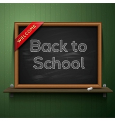 Back to school blackboard on the shelf vector