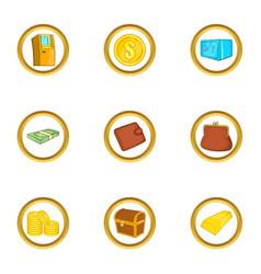 Bank icon set cartoon style vector