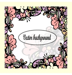 Beautiful floral frame with text vector image vector image