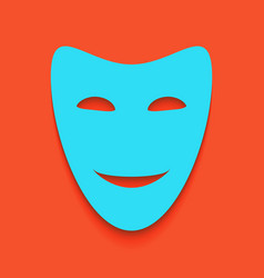 Comedy theatrical masks whitish icon on vector
