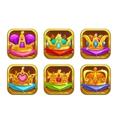 Cool game icons with golden rare crowns vector