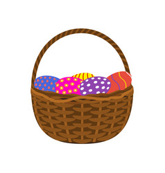 easter eggs in a basket on a white background vector image vector image