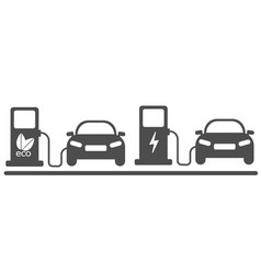 Electric car in refill icon vector