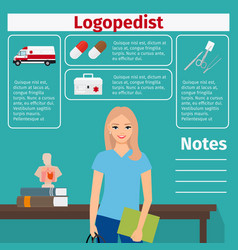 Female logopedist and medical equipment icons vector
