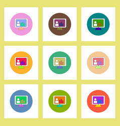 Flat icons set of column chart on monitor concept vector