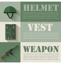 flat military soldier equipment set design concept vector image