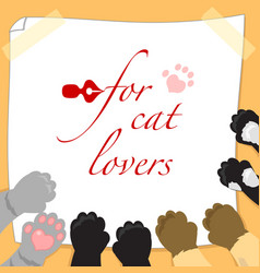 for cat lovers page with paws vector image