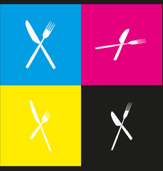Fork and knife sign white icon with vector