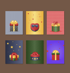 Gift box greeting card with present vector