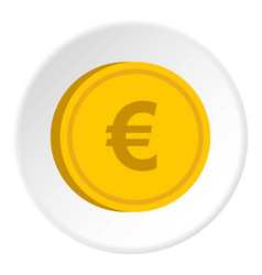 Gold coin with euro sign icon circle vector