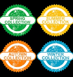 Grunge stamps with collections for each seasons vector image vector image