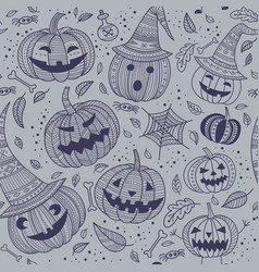 halloween seamless pattern with cute pumpkins vector image vector image