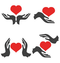 Hands hold heart icons vector