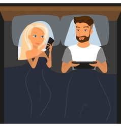 Happy couple using digital devices in bed at night vector